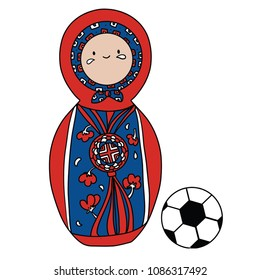 Beautiful russian doll with soccer ball wearing the colors of the South Korea team of football. Vector isolated on white background.