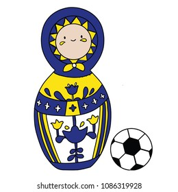 Beautiful russian doll with soccer ball wearing the colors of the Sweden team of football. Vector isolated on white background.