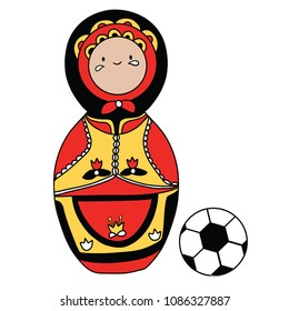 Beautiful russian doll with soccer ball wearing the colors of the Belgium team of football. Vector isolated on white background.