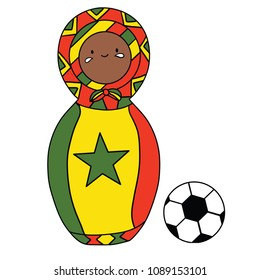Beautiful russian doll with soccer ball wearing the colors of the Senegal team of football. Vector isolated on white background.