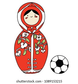 Beautiful russian doll with soccer ball wearing the colors of the Japan team of football. Vector isolated on white background.