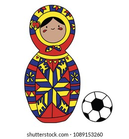 Beautiful russian doll with soccer ball wearing the colors of the Colombia team of football. Vector isolated on white background.