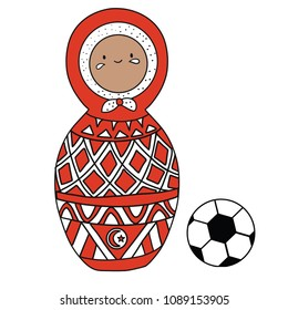 Beautiful russian doll with soccer ball wearing the colors of the Tunez team of football. Vector isolated on white background.