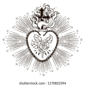 The beautiful sacred heart of Jesus with rays.Tattoo art, graphic, t-shirt design, postcard, poster design, coloring books,spirituality, occultism.Isolated vector illustration.