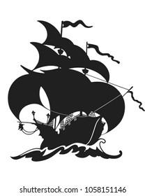 Beautiful Sailing Ship Silhouette - Retro Clip Art Illustration
