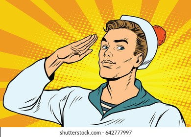 beautiful sailor salutes, the marine profession. Pop art retro vector illustration drawing