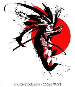 Beautiful samurai girl with a katana, against the bloody red sun