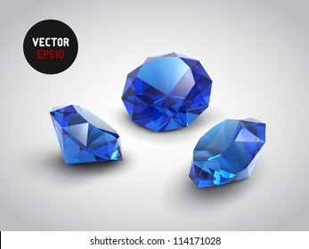 A beautiful sapphire gems (vector objects)