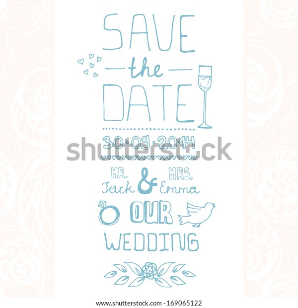 Beautiful Save Date Card Design Wedding Stock Vector
