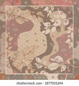 Beautiful scarf pattern with leaf and flower design ornament. Hijab fashion