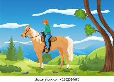 Beautiful scene with cowgirl and her horse in a rural landscape