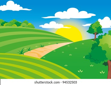 Beautiful Scene of farming field with beautiful sunlight in the clear blue sky