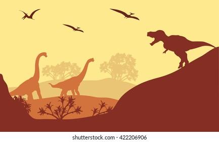 Beautiful scenery dinosaur of silhouette in hills