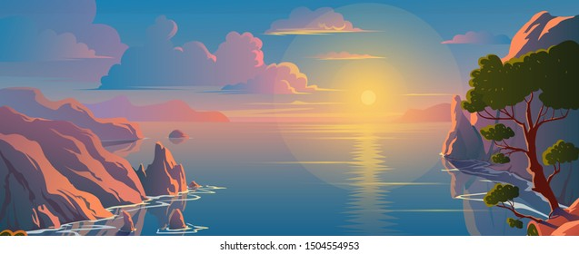 Beautiful scenery on the top of mountain, seaside view, colorful sunset. Nature landscape background