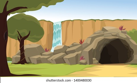 Beautiful Scenic cave hideout with waterfalls for the Background requirement