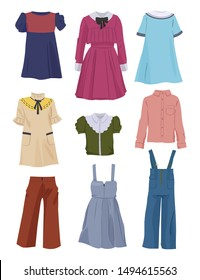 Beautiful school clothes for girls, elegant dresses, pants, blouses and etc, isolated on white background.