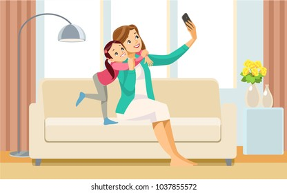 Beautiful school girl and her mom are hugging, doing selfie using a smart phone and smiling while playing at home.  Concept motherhood child-rearing. Vector illustration