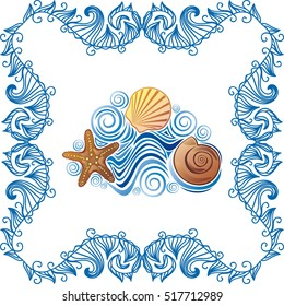 Beautiful sea background with shells. Vector illustration.