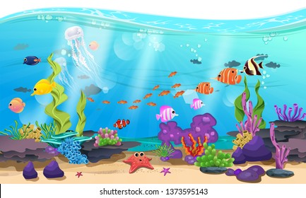beautiful sea with coral, reef, and fish