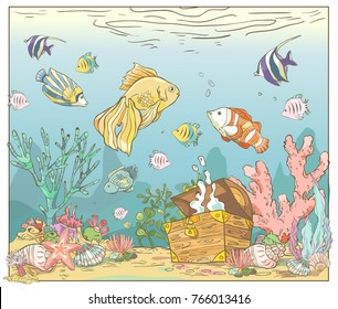 Beautiful sea scene with fish, seaweed, and treasure chest. Underwater world.  Colorful vector illustration