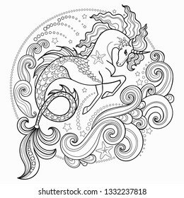 Beautiful sea unicorn surrounded by waves. Hippocampus. Hand-drawn ink pen vector illustration. Tattoo design, textile print, posterBlack and white. Vector