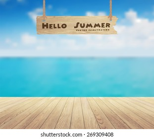 Beautiful sea view and wood planks floor background, Vector illustration design