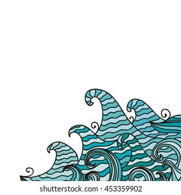 Beautiful sea waves. Vector illustration.