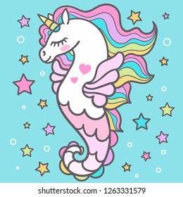 Beautiful seahorse among the stars. Unicorn. For design, prints, posters and so on. Vector