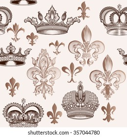 Beautiful seamless background with hand crowns and fleur  in engraved style