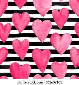 Beautiful seamless background. pink watercolor hearts on horizontal ink black and white stripes. design greeting card and invitation of the wedding, birthday, Valentine s Day, mother s day and holiday