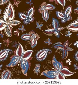 Beautiful seamless batik pattern of butterflies