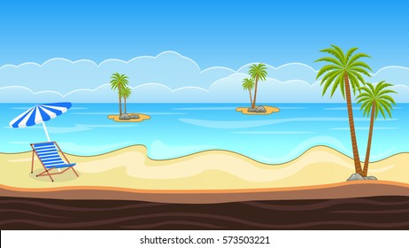 beautiful seamless beach background with coconut trees small ice lands, chair and umbrella and a platform ready to be used in any game
