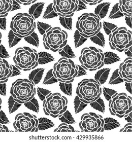 beautiful seamless black and white pattern in roses and leaves lace. design for greeting card and invitation of the wedding, birthday, Valentine's Day, mother's day and other seasonal holiday