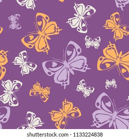 Beautiful seamless butterfly iterative template isolated on contrast back layer. Season butterfly repeat theme vector. Wildlife insect fauna clipart for wrapping paper.