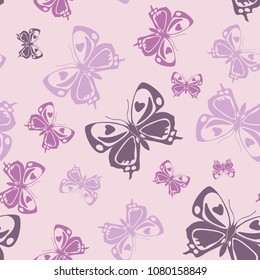 Beautiful seamless butterfly iterative texture isolated on contrast back layer. Nature butterfly repeat theme vector. Wildlife insect fauna backdrop for cover.