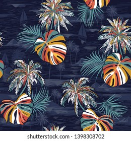 Beautiful seamless colorful palm leaves island pattern on monotone Landscape with palm trees,beach and ocean  vector hand drawn style on dark navy blue color background.