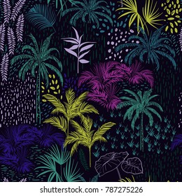 Beautiful seamless Dark tropical summer forest pattern on black with colorful palm trees,exotic wild and plants vector in hand drawn style.