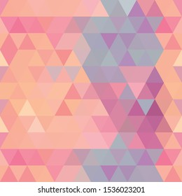 Beautiful seamless design of orange and violet colored triangles in square format