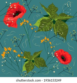 Beautiful seamless exotic floral cool summer fashion pattern with red poppies, yellow field flowers and green leaves on turquoise blue background. Vector stock illustration.