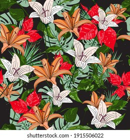 Beautiful seamless exotic floral summer fabric fashion print pattern with monstera deliciosa leaves, red poinsettia, orange and white lilies. Hand drawn vector illustration. Black background.