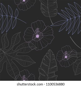 A beautiful seamless exotic plants and frangipani flowers pattern in different shades and styles.
