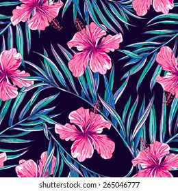 Beautiful seamless floral jungle pattern background. Tropical flowers and palm leaves