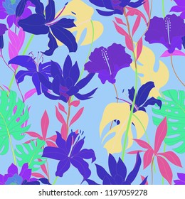 Beautiful seamless floral pattern background. Tropical flowers vector illustration.
