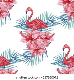 Beautiful seamless floral pattern background with watercolor pink flamingos, tropical flowers and palm leaves, hibiscus