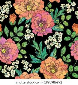 Beautiful seamless floral pattern. Flower vector illustration
