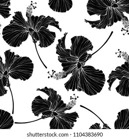 Beautiful seamless floral pattern. Hibiscus flowers background. Hibiscus flower realistic vector repeatable design.
