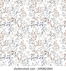 beautiful seamless floral pattern for kids. pattern  with leaf silhouette and flowers for textile design and fabrics