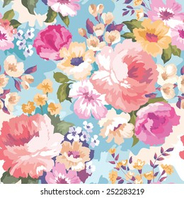 Beautiful seamless floral pattern with watercolor background. Flower vector illustration