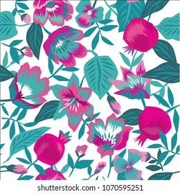 Beautiful seamless floral summer pattern background with pomegranate fruit, leaves, flowers. Perfect for wallpapers, web page backgrounds, surface textures, textile.
