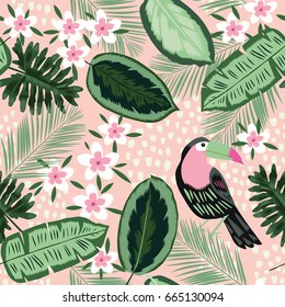 Beautiful seamless floral summer pattern background with tropical palm leaves, toucan bird, flowers. Perfect for wallpapers, web page backgrounds, surface textures, textile.